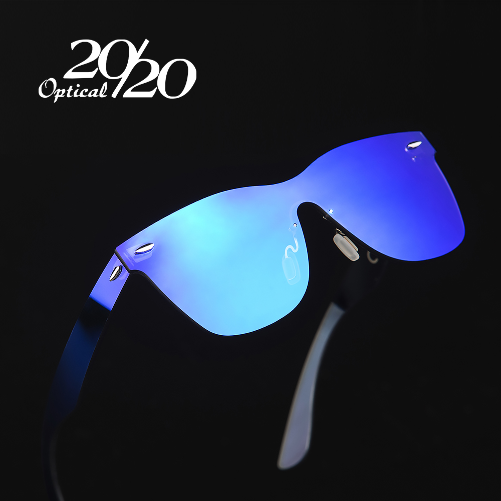 719727aeb 20/20 العلامة التجارية خمر نمط النظارات الشمسية الرجال عدسات مسطحة بدون شفة  إطار مربع النساء نظارات شمسية Oculos Gafas PC1601