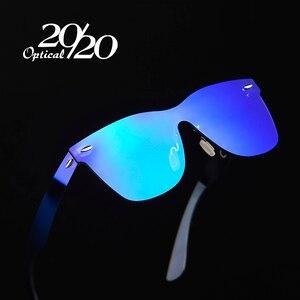 Image 1 - 20/20 Brand Vintage Style Sunglasses Men Flat Lens Rimless Square Frame Women Sun Glasses Oculos Gafas PC1601