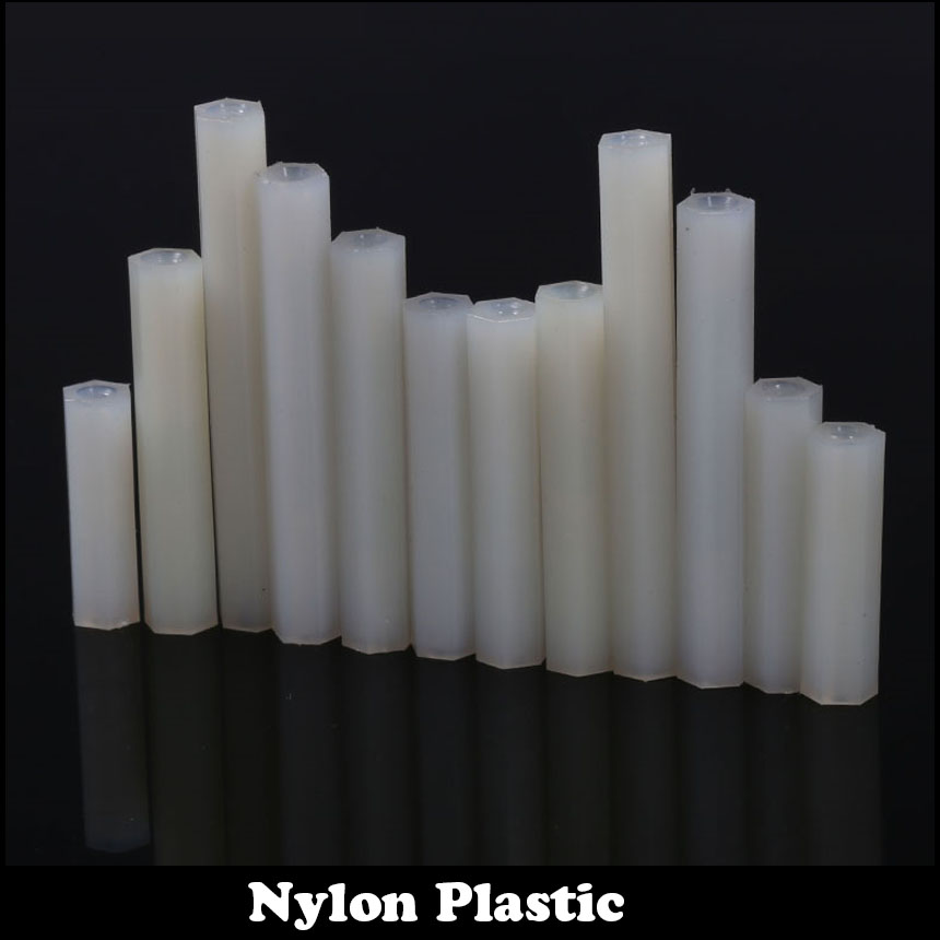 24pcs M3 25mm M3*25 Dual Nut Nylon Female To Female PCB Hex White Plastic Hexagon Stand-Off Pillar Spacer Standoff