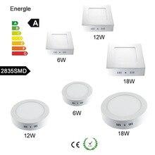 LED Панель свет 6 Вт/12 Вт/18 Вт/24 Вт светодиодные потолочные встраиваемые сетки светильник круглый /квадратный привело Панель светодиодные лампочки SMD2835