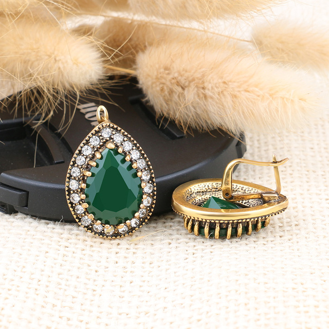 Simple Indian Jewelry 2016 Design Fashion Earrings For Women Water Drop Green Resin Earring Sale Wholesale Jewellery