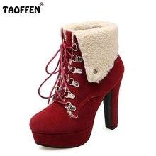 TAOFFEN Frauen Plattform Starke Ferse Stiefeletten Frau Runde Kappe Lace Up Heels Schuhe Frau Warme Pelz Botas Feminina Größe 34-43