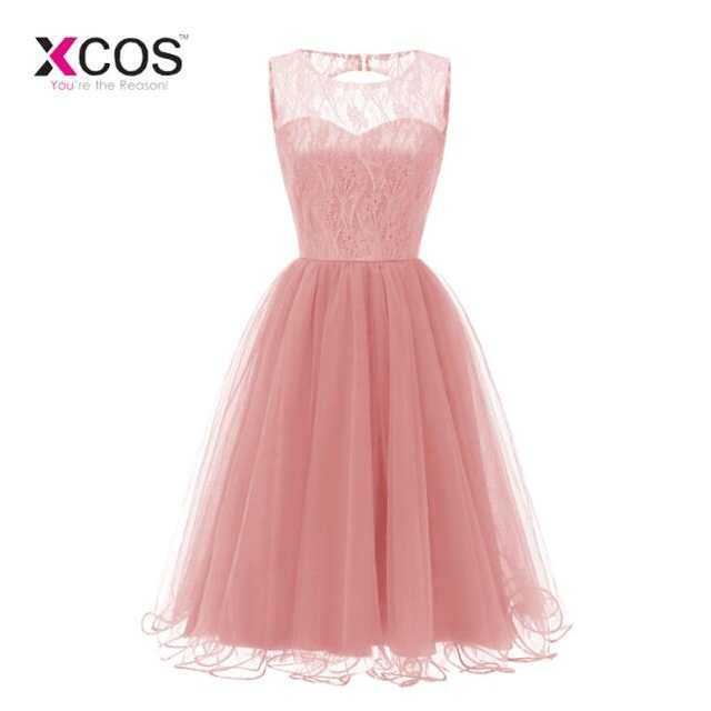 Cheap Tea Length Bridesmaid Dresses 2019 New Coral Lace Top Tulle