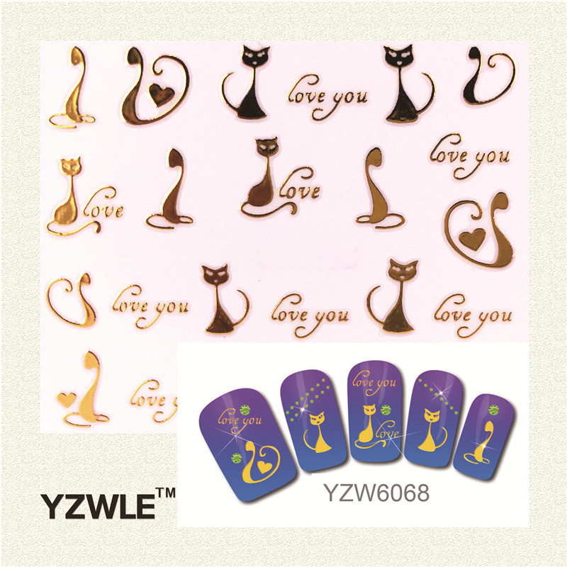 YZWLE 1 Sheet Nail Gold Cat Style For 2016 Nail Sticker Nail Gold Sticker smileomg hot sale retro unisex men women watch world map design analog quartz watch free shipping christmas gift sep 5