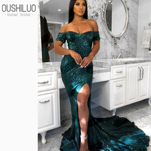 Emerald Sequined Mermaid Prom Dresses For Muslim Women Dubai  Arabic Dark Green Boat Neck Off Shoulder Side Slit Party Gowns