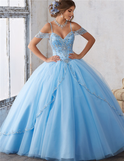 d77545203e Vestido 15 Anos 2017 Light Blue Quinceanera Dresses Cheap Debutante Gown  Luxury Beading Ball Gown Dresses