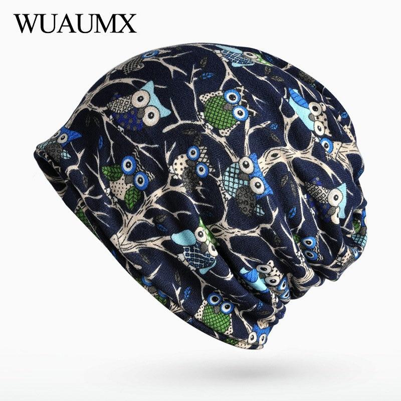 Wuaumx Unisex Fall Winter Hats For Women Men Owl Pattern Skullies Beanies Female HipHop Turban Hat Plus Velvet czapka zimowa