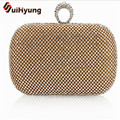 HOT! 2016 New Women Dinner Clutch Luxury Full Diamond Ring Evening Bag Party Mini Handbag Double Chain Shoulder Messenger Bag