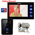 7inch TFT Color Video Door Phone Video Record IR Night Vision Touch Key with 4G SD Card Rainproof Electronic Lock