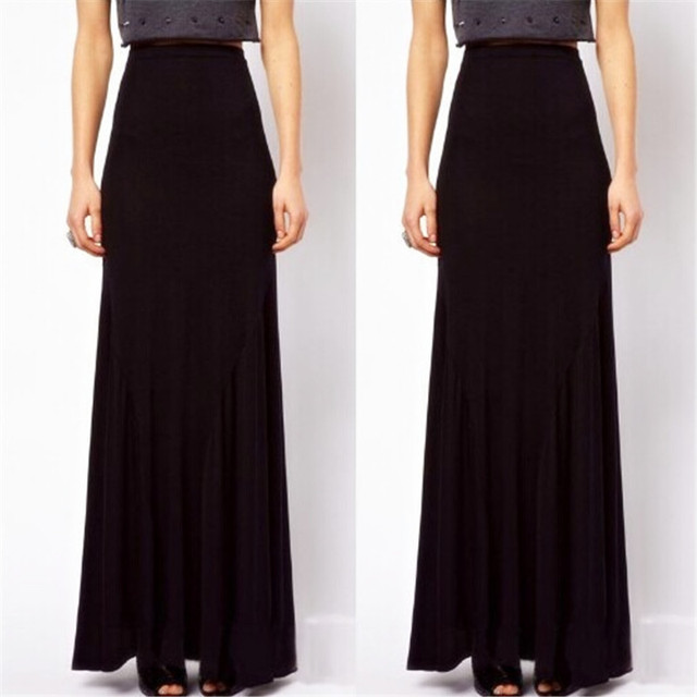 9144f974f4 6XL Plus Size Summer Style Maxi Skirt Long Black Cotton skirts For Women  Casual Street School Skirt