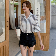 Women Shirt Summer Fashion Woman Blouses 2019 Turndown Collar Striped Chiffon Shirt Blouse Women turndown collar checked linen shirt