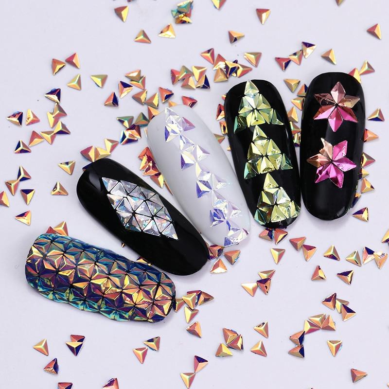 6 Dozen Chameleon AB Color Nail Sequins Kleurrijke Driehoek Rhombus - Nagel kunst