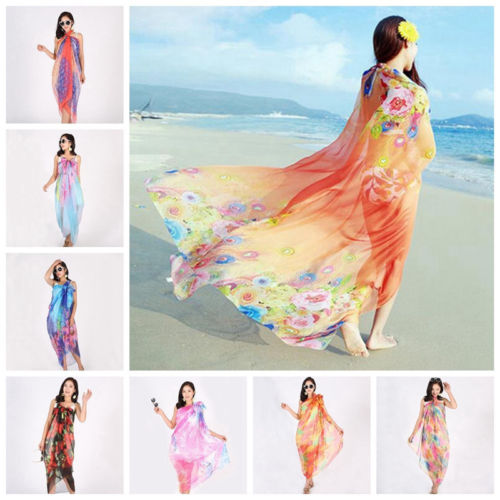 2018 Newest 150x200cm Chiffon Pareo Beach Cover-Ups Women Large Beach Dress Bikini Bathing Swimwear Cover Up Sarong Wrap Scarf