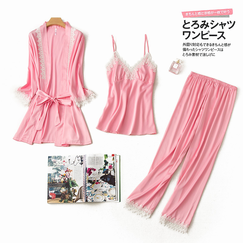 Pink Women Pajamas 3 Pieces Satin Sleepwear Pijama with Chest Pads Spaghetti Strap Lace Silk Sleep Lounge Nightwear Pyjama