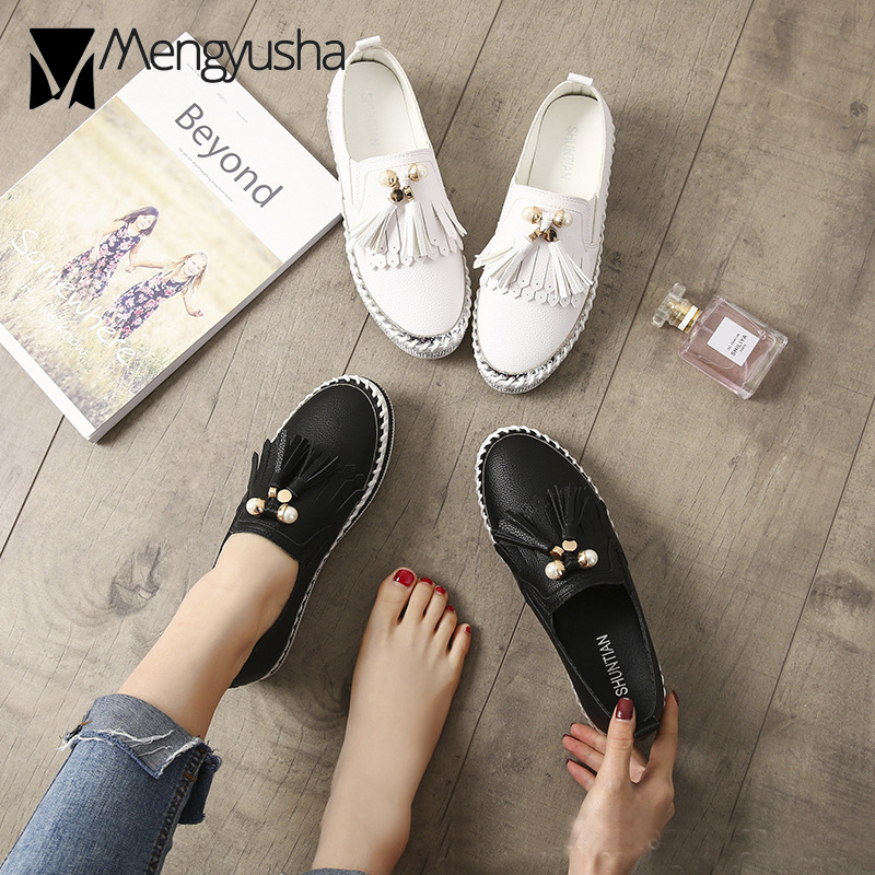 2018 Slip Dames Noir Femme Corée Toe blanc Gland Creepers Microfibre Date Appartements Chaussures Mujer Mocassins Confortable On Perle Joker Ronde rx4qrOw