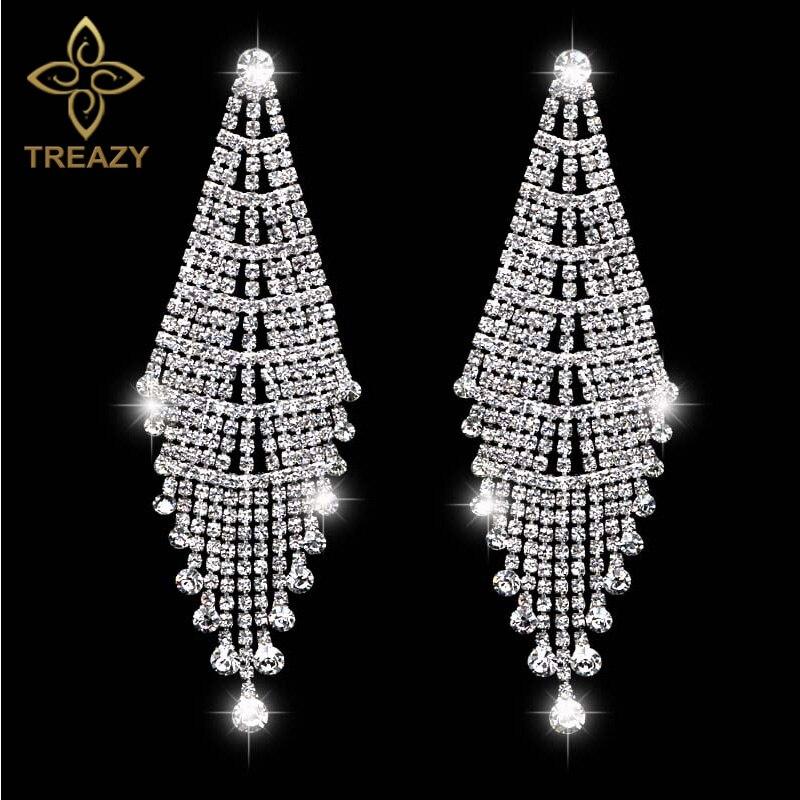 TREAZY Gorgeous Silver Plated Bridal Tassel Drop Earrings Sparkling Full Rhinestone Crystal Long Dangle Earrings Wedding Jewelry