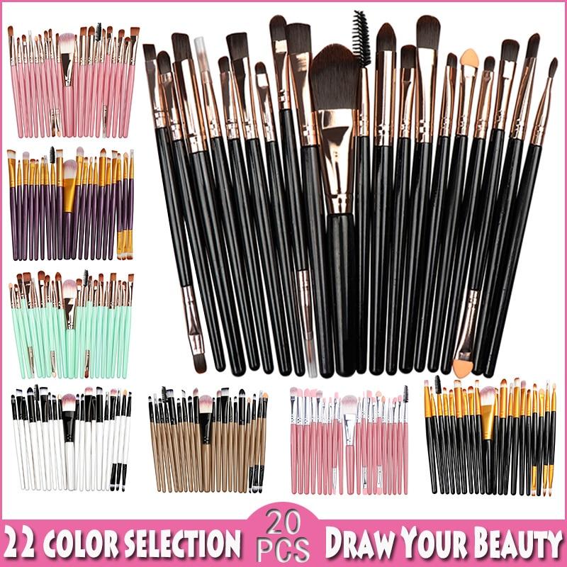 20 pièces Pinceaux De Maquillage Ensembles Fondation Poudre Cosmétique Fard À Paupières Beauté Paillettes Maquillage Brosse Cosmétique Beauté Outil Kit