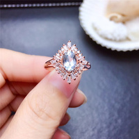 Natural Aquamarine Rings for Women Party Gifts 5x7mm 0.75Ct 5A Genuine gemstones Rose Gold Fine jewelry 925 Sterling Silver #407