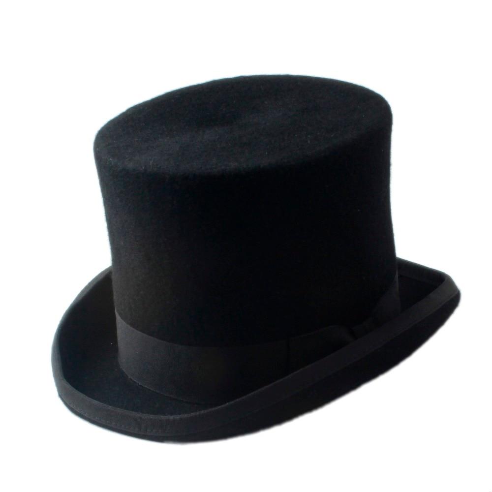 8 Size Wool Men s Women s BalcK Teampunk Hat Top Hat Victorian Traditional  Fedoras Cap Millinery Magician Hat 68d48f5313a