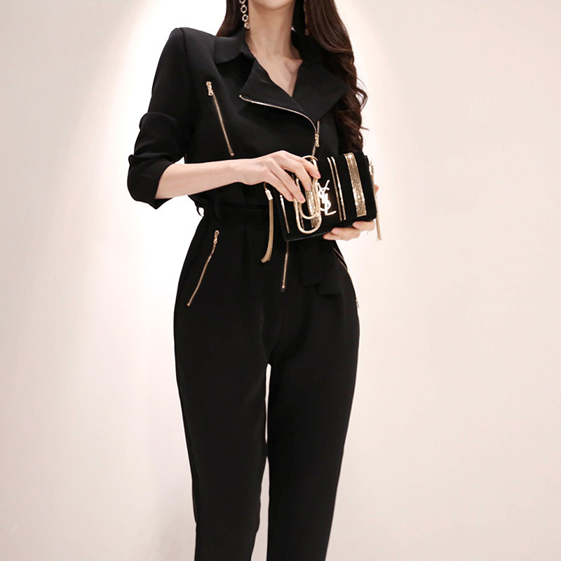 Fashion women new arrival casual comfortable   jumpsuit   vintage work style temperament wild trend high quality black romper