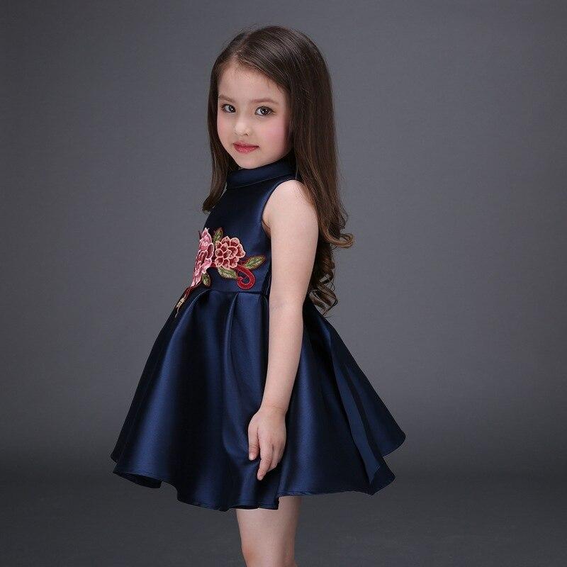 536553c4f1f9 navy blue flower girl dresses autumn princess costume child red ...