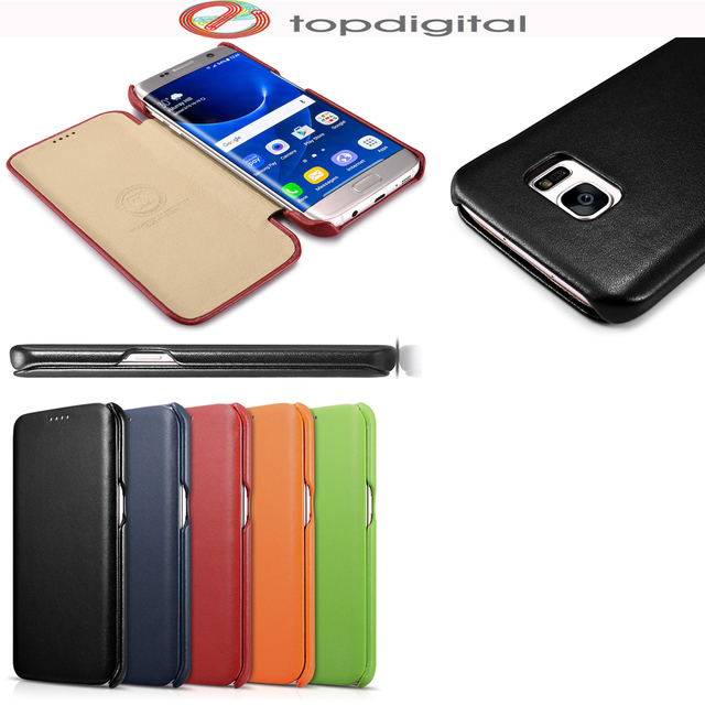 new concept 909c0 01ec9 US $16.63 11% OFF|icarer Slim Cover for Samsung Galaxy S7 edge Flip Case  Genuine Leather for S7 edge G9350 (5.5inch) Luxury Ultra Thin Folio Case-in  ...