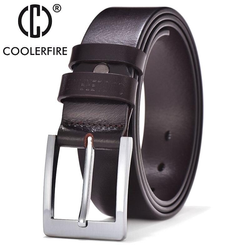 COOLERFIRE Belts For Men Black And Brown Top Full Grain Leather Big Silver Buckle Dress Belt JTC001
