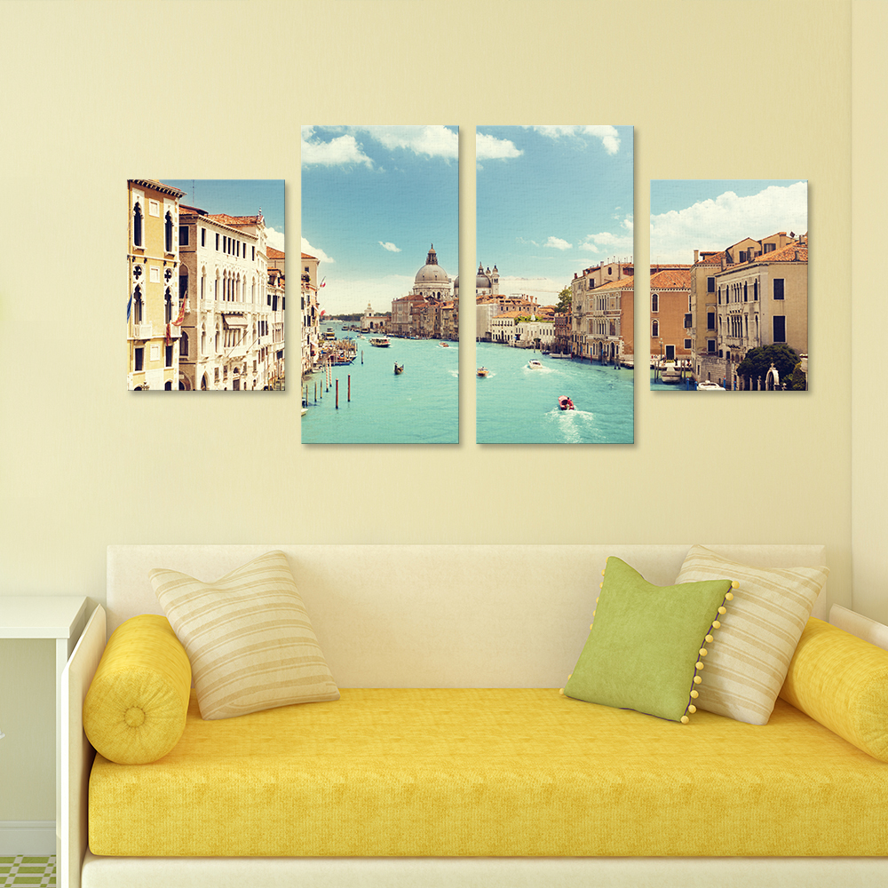 4 Piece/Set Venice City Wall Art Mural Canvas Decorative Painting ...