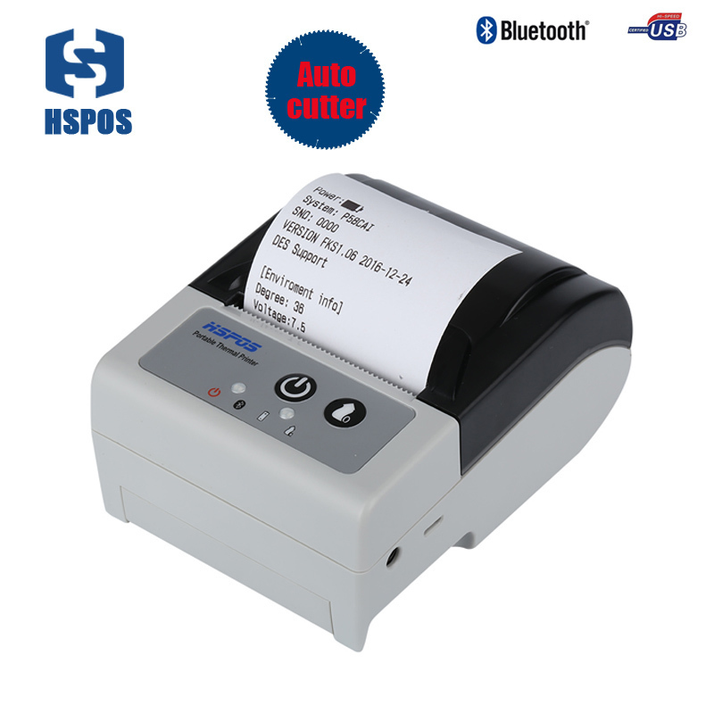 58mm portable android bluetooth cheque printer with auto paper cutter mobile thermal receipt printer for POS printing impresora 58mm portable printer bluetooth thermal printer support 50mm diameter paper roll for ios pos ticket printing machine hs 590ai