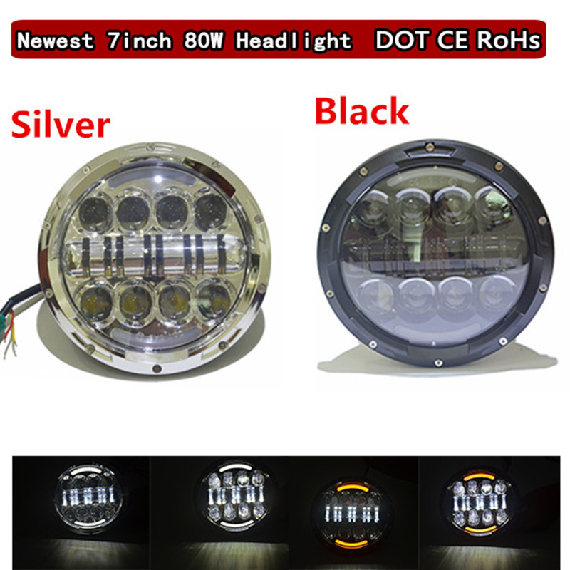 2 PCS 7'' 80W Round LED Headlamp for Jeep Wrangler JK CJ LED Driving light Hummer Offroad LandRover H4 H13 headlights 7 inches led starry headlights with devil demon eye and led angel for jeep wrangler jk 2 pcs
