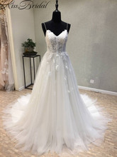Vestidos de noiva Ny lång brudklänning 2018 Sweetheart Spaghetti Strap A-Line Court Tåg Appliques Tulle Brudklänningar Snör åt