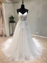 Купить с кэшбэком Vestidos de noiva New Long Wedding Dress 2018 Sweetheart Spaghetti Strap A-Line Court Train Appliques Tulle Bridal Gowns Lace Up