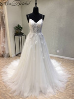 Vestidos de noiva New Long Wedding Dress 2018 Sweetheart Spaghetti Strap A Line Court Train Appliques Tulle Bridal Gowns Lace Up