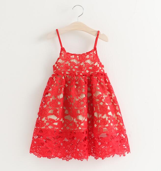 High quality Girls baby Hollow out bud silk condole belt Dress princess party dresses children s