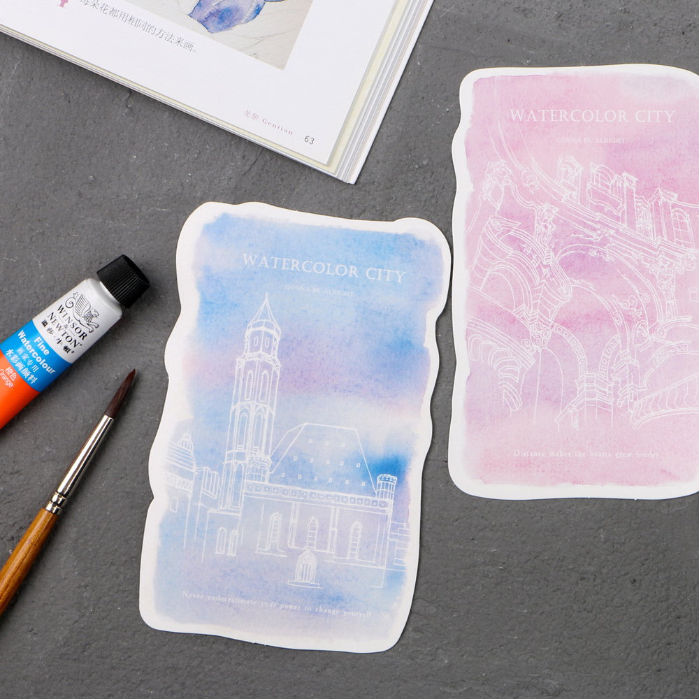 30pcs watercolor painting city card multi-use as Scrapbooking party invitation DIY Decor ...