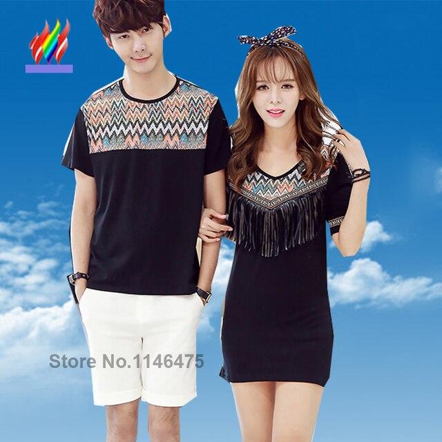16750166cc7e € 12.99 |A juego del verano par de ropa moda hombres mujeres amantes Tops  casuales delgado blanco negro camiseta dulce linda coreana par de camisetas  ...