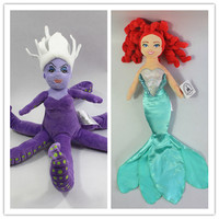 2 개/몫 인어 악당 어슐러 문어 바다 마녀 및 아리엘 공주 봉제 인형 장난감 인형