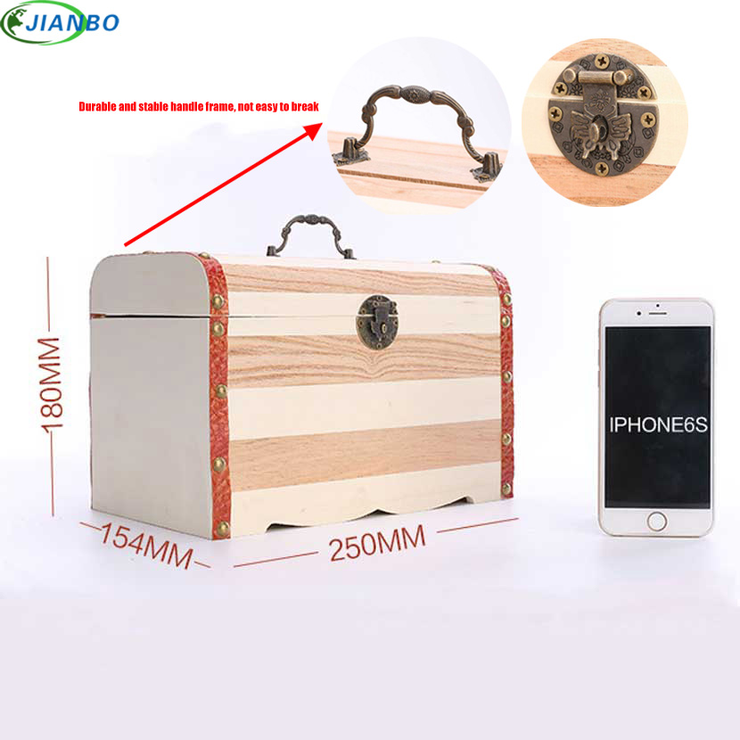 New 1PC Retro Wooden Piggy Bank Safe Metal Lock Money Saving Case Natural Wood Line Handmade Money Storage key Box Drop Shipping coloffice 1pc creative 21 8 5 28cm wooden bookends multifunctional storage retro key box wall decoration desktop bookend supplie