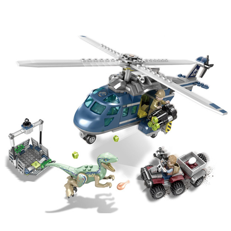 Jurassic World Park Blue's Helicopter Pursuit Building Blocks Kit ladrillos clásico película modelo niños juguetes regalo Compatible Legoe