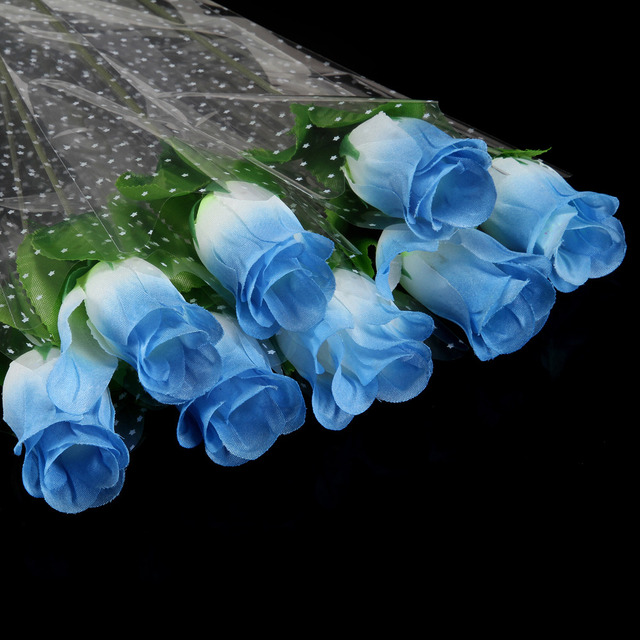 Unique 11pcs/Lot Fresh blue rose Artificial Flowers Real Touch rose  DR63