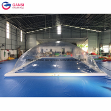 Backyard inflatable swimming pool cover dome tent,12x6x3m giant outdoor tent for family use