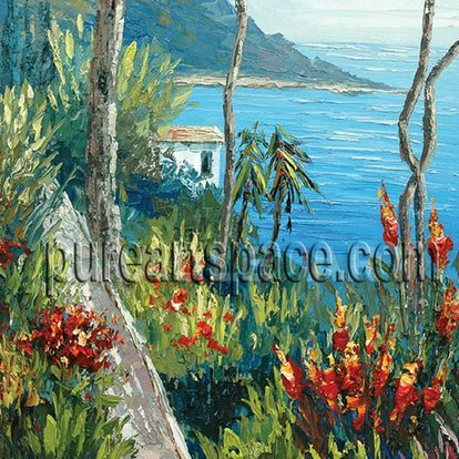 Thick Palette Knife Hand Painted Seaside Oil Painting Reproduction Mediterranean Sea Scenery With Flower Palette Knife Wall Art