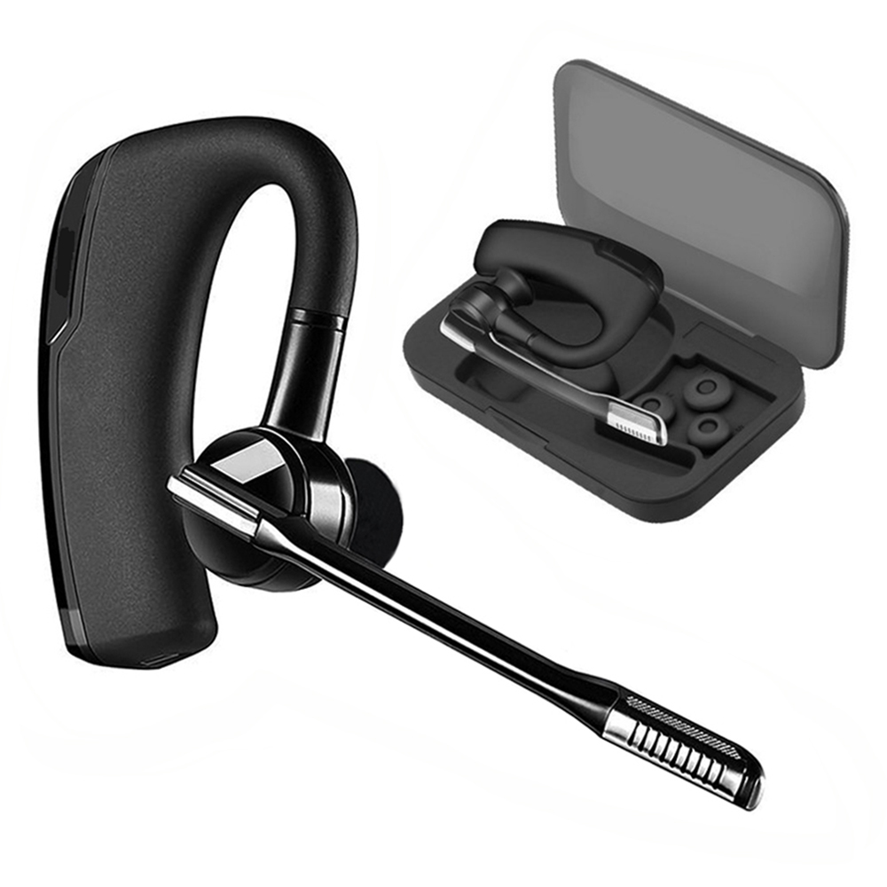 V8 Stereo Handsfree Wireless Business Bluetooth Earphone Headphones Car Driver Handsfree Bluetooth Headset with Storage Box airersi k6 business bluetooth headset smart car call wireless earphone with microphone hands free and headphones storage box