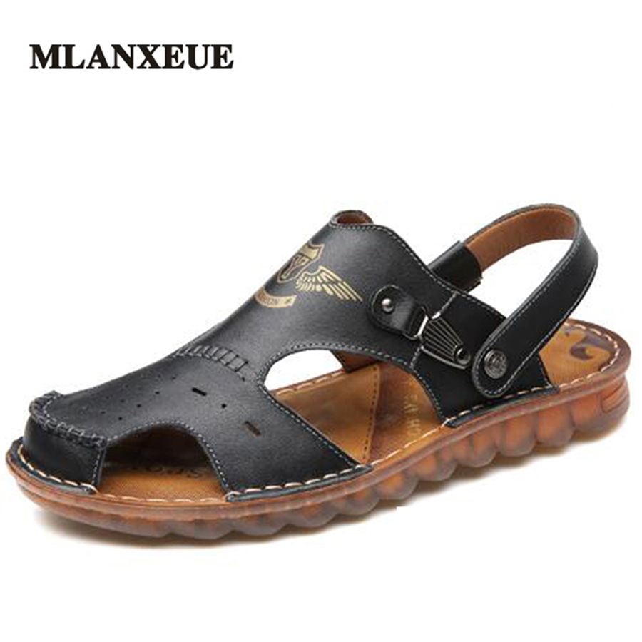 MLANXEUE Genuine Leather Soft Rubber Sole Men Sandals Breathable Non-Slip Male Slippers Outdoor Beach Men Shoes