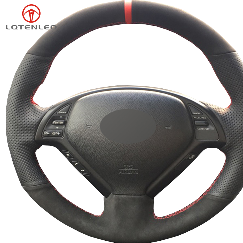 LQTENLEO Black Leather Suede DIY Car Steering Wheel Cover For Infiniti G G25 G35 G37 EX