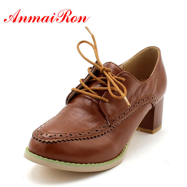ANMAIRON Round Toe Casual Women Pumps Big size34-43 Square heel High Shoes  New Soft