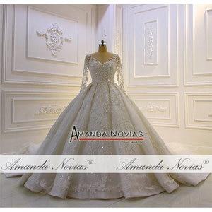 Image 3 - 2020 Luxury Shinny real photo Wedding Dress Three Quarter Sleeve Lace  beading Wedding Dress