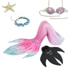 5 PCS Children Girls Swimsuit Mermaid Swimmable Tail Costumes For Who Swim Tails With Monofin Fin Cosplay