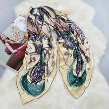 Модный Печатный 100% шелковый шарф женский большой квадратный шелковый шарф накидка Роскошная ручная работа 106 см женские подарки