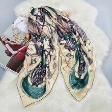 Mode Gedruckt 100% Silk Schal Frauen Große Platz Silk Schal Schal Wraps Cape Luxus Hand Gerollt 106cm Weibliche Geschenke